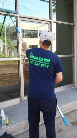 Commercial window cleaning in Rockaway Park NY by Klean All USA Inc.